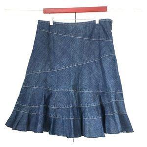 DKNY Donna Karan denim jeans fit flare skirt 10